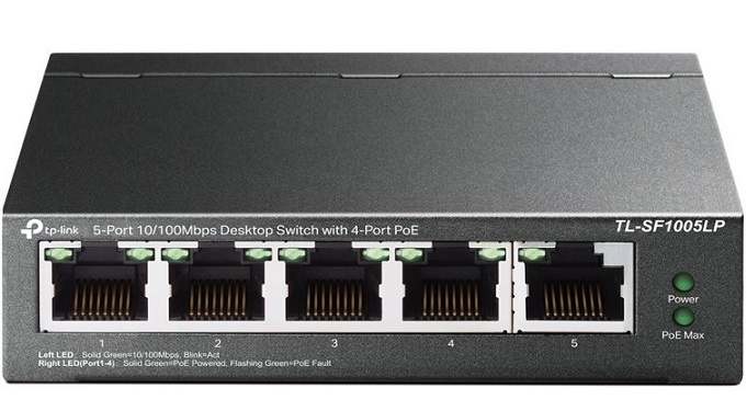 5-Port 10/100Mbps with 4-port PoE Switch TP-LINK TL-SF1005LP