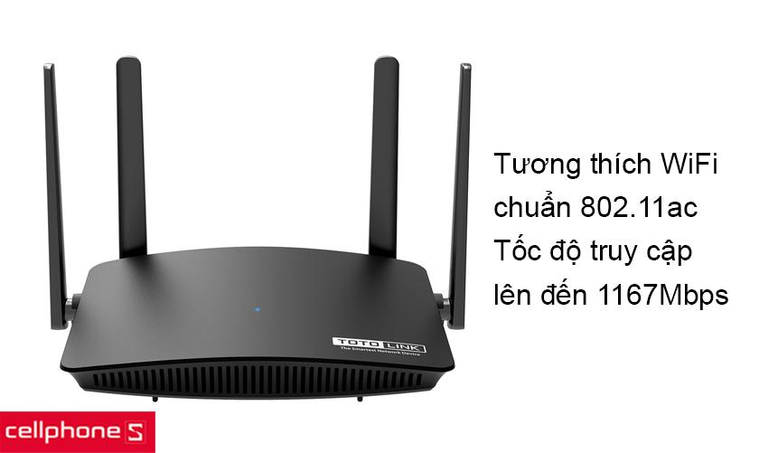 Tương thích WiFi chuẩn 802.11ac và băng tần kép AC1200 cho tốc độ lên đến 1167Mbps